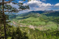 View from lookout Spicak on Strecno castle, Slovakia. View from lookout Spicak on Strecno castle and Slovak country stock photo