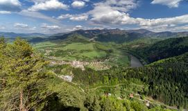 View from lookout Spicak on Strecno castle, Slovakia. View from lookout Spicak on Strecno castle and Slovak country royalty free stock photography