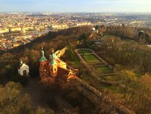 View from lookout tower in Prague Stock Photos