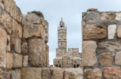 View through the loophole in the city fortress wall at the Tower of David near the Jaffa Gate in old city of Jerusalem, Israel stock photography