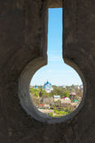 The view from the loopholes of the Old Castle at the town Royalty Free Stock Photography