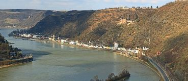 View from the Lorely into the rhine valley. View from the Lorely rock into the rhine valley stock photos