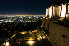 View of Los Angeles and the Griffith Observatory at night, in Gr Royalty Free Stock Photos