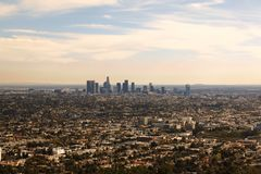 A view of Los Angeles skyline in daytime.  Royalty Free Stock Image