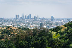 View of the Los Angeles skyline from Mulholland Drive, in Los An Stock Photo