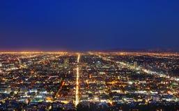 View of Los Angeles skyline at night Stock Photos