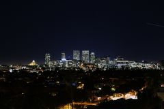 A view of Los Angeles skyline in night time.  Stock Photo
