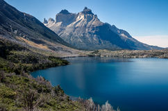 View on the Los Cuernos over the lake in the Torres del Paine national park in Chile. During summer day stock photography
