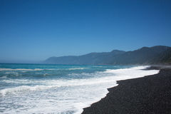View of Lost Coast in California. View of the black sand beach and blue ocean at the Lost Coast in California Stock Images