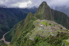 View of the Lost Incan City of Machu Picchu and Huayna Picchu mo Royalty Free Stock Images