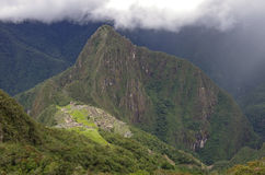 View of the Lost Incan City of Machu Picchu and Huayna Picchu mo Stock Image