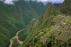 View of the Lost Incan City of Machu Picchu Royalty Free Stock Images