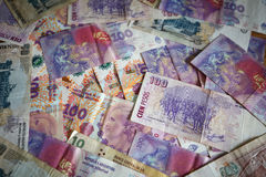 View of the lot of the Argentinian money pesos / background Royalty Free Stock Photo