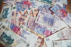 View of the lot of the Argentinian money pesos / background Stock Images