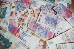 View of the lot of the Argentinian money pesos / background Royalty Free Stock Photos