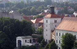 View of Lotrscak Tower, fortified tower located in old part of Zagreb Royalty Free Stock Photo