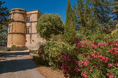 View of the Lourmarin castle with flower bush in the foreground, near Lourmarin. Stock Image