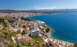 View of Loutraki town, Corinthia, Greece Royalty Free Stock Photos