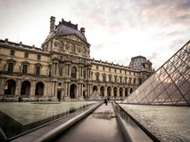 View at Louvre museum. Landscape at Louvre Museum Paris Royalty Free Stock Photography