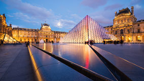 View of the Louvre Museum and the Pyramid at twilight. Stock Photography