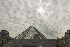 View of the Louvre Pyramid. Stock Photo