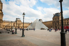 View on Louvre pyramid in Paris,France Royalty Free Stock Photos