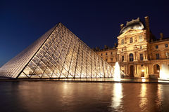 View on Louvre Pyramid and Pavillon Rishelieu Stock Photography