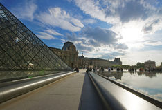 View from Louvre Pyramid to Louvre Palace in Paris Royalty Free Stock Photos