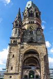View from a low point of view at Kaiser Wilhelm Memorial Church, one of the most important sights of Berlin Royalty Free Stock Images