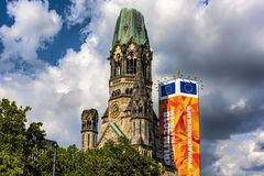 View from a low point of view at Kaiser Wilhelm Memorial Church, one of the most important sights of Berlin royalty free stock image