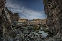 View at Low Tide, Godrevy Lighthouse, Cornwall royalty free stock photos