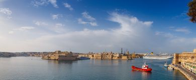 View from the lower Baccarra Garden. Valletta, Malta Grand harbor Royalty Free Stock Photos