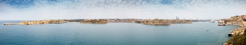 View from the lower Baccarra Garden. Valletta, Malta Grand harbor Royalty Free Stock Photography