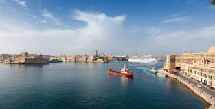 View from the lower Baccarra Garden. Valletta, Malta Grand harbor Stock Photos