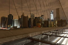 View of Lower Manhattan following power outage. View of Lower Manhattan following power outage as a result of Hurricane Sandy from Brooklyn Bridge Royalty Free Stock Images