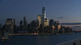 View of Lower Manhattan at night stock video footage