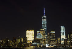View of Lower Manhattan skyline at night from Exchange Place in Jersey City, New Jersey Stock Photo