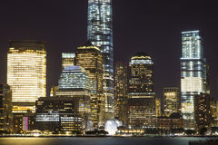 View of Lower Manhattan skyline at night from Exchange Place in Jersey City, New Jersey Royalty Free Stock Photo