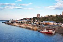 View of Lower Volga embankment in Nizhny Novgorod. Royalty Free Stock Images