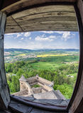 View from Lubovna castle, Slovakia. Beautiful view from Lubovna castle in Slovakia stock photo