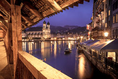 View of Lucerne from the Chapel Bridge Stock Photos