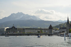 View of Lucerne from lake Lucerne Royalty Free Stock Images