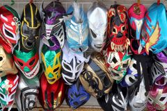 Mexico City. A view of Lucha Libre masks outside the Centro Artesanal Ciudadela on March 20, 2014 in Mexico City Royalty Free Stock Image