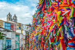 View of lucky ribbons tied around Igreja Nossa Senhora do Bonfim church royalty free stock images