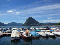View at Lugano Lake and boats Royalty Free Stock Image