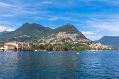 View of Lugano lake and the mountain stock image