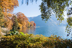 View on Lugano lake from the park. Switzerland Stock Photography