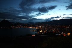 A view of Lugano by night stock image