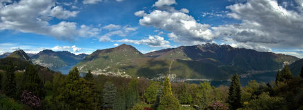 View of Lugano's lake. Overview of the park San Grato, Ticino - Switzerland royalty free stock photo