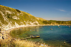 View of Lulworth Bay, UK. A wide angle view of Lulworth BAy situated near Weymouth,UK Stock Image